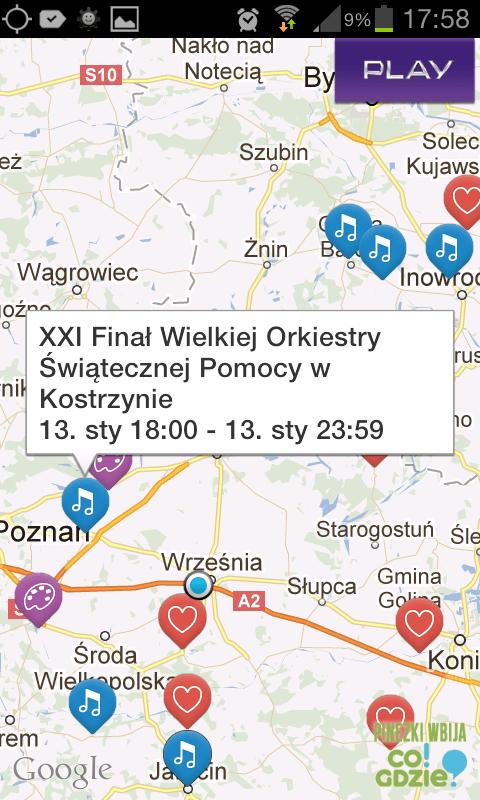 Mapa imprez w ramach 21.finalu WOSP