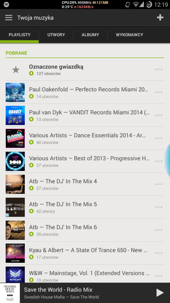 Spotify Android playlisty