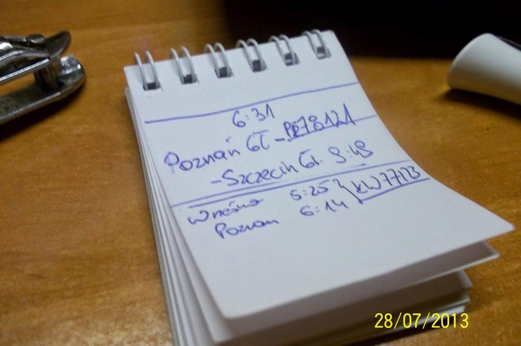 Tak właśnie zapisywałem notatki z godzinami wyjazdu